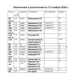 Изменения в расписании на 17 ноября